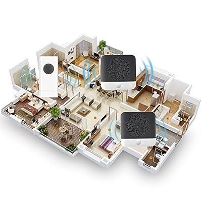 [UPGRADED 2018]Wireless Doorbells for Home -Kapoo Waterproof Doorbell Chimes Kits-1000 feet Range Doorbell Wireless Doorbells with 52 Chimes and 4 Adjustable Volume Levels, 2 Receiver & 1 Push Button