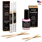 Bundle: Cuticle Oil Pen & Nail Strengthener & Nail Art Liquid Latex Barrier - Simply Peel Off Liquid Tape - Mess Free Mani & Pedi - Magique VitalePen & Magique SecondSkin