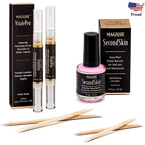 Bundle: Cuticle Oil Pen & Nail Strengthener & Nail Art Liquid Latex Barrier - Simply Peel Off Liquid Tape - Mess Free Mani & Pedi - Magique VitalePen & Magique SecondSkin -
