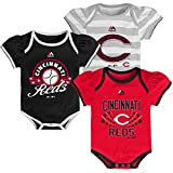 Cincinnati Reds Newborn Baby Girls Triple Play 3-pk Bodysuit Creeper Set
