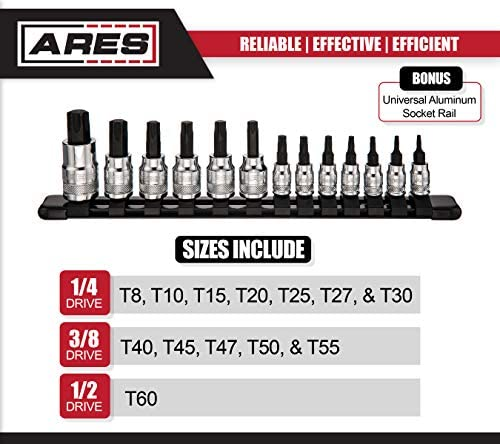 3//8-Inch ARES 70102-13-Piece Standard Torx Bit Socket Set Sizes Range from T8-T60 in 1//4-Inch and 1//2-Inch Drive