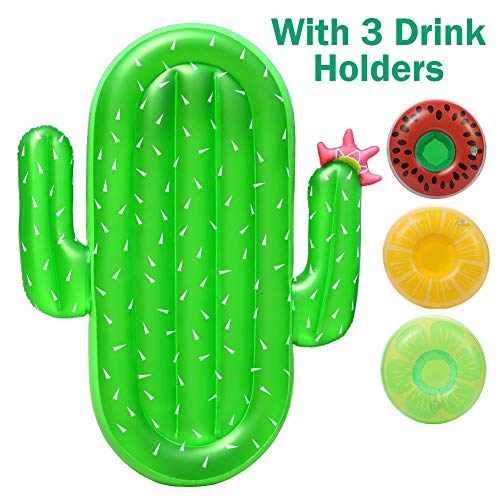 Sakiyr Cactus Pool Floats, 7 x 5' Giant Inflatable Pool Floaties for Adults and Kids with 3 Cup Holders, Summer Pool or Beach Toy