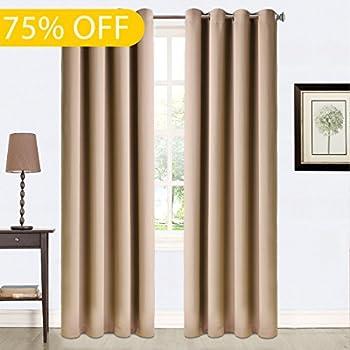 Amazon.com: Balichun 99% Blackout 2 Panels Curtains Thermal ...