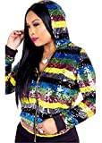 Qikaka Women's Sexy Long Sleeve Hooded Zipper Colorful Stripe Sequins Jackets Party Clubwear Coat Jackets