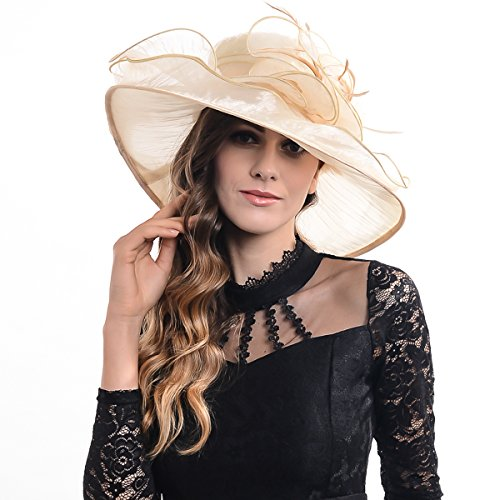Women Corrugated Church Wide Brim Dress Hat with Rose Accent (Beige)