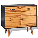 Festnight Sideboard Storage Cabinet Console Table Solid Acacia Wood 35.4″ x 13.2″ x 32.7″
