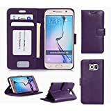 Samsung Galaxy S6 Wallet Case Cover, FYY® [Executive Wallet Kickstand] Premium Leather Flip Case Stand Cover with Card Slots and Note Holder for Samsung Galaxy S6 Purple