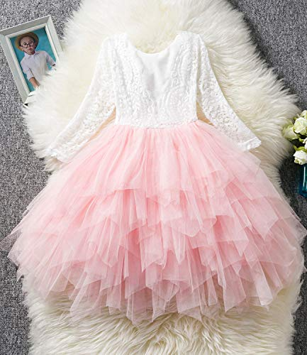 NNJXD Backless Lace Back Tutu Tulle Princess Party Dress Flower Girls Dresses Size (120) 4-5 Years Pink by NNJXD (Image #2)