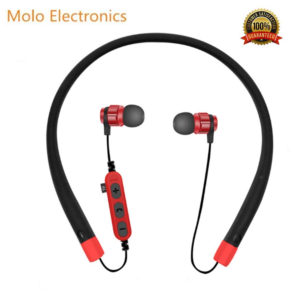 Bluetooth Headphones,10 Hrs Playtime CSR Neckband Sport Earphones with Mic,Sports Sweat-Proof Noise Cancelling Foldable Stereo Earphones for Outdoor Sports