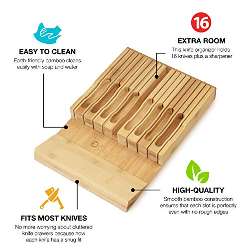 ELTOW In-Drawer 16 Knife Block Bamboo Organizer | Drawer Knife Set Storage with Safety Slots for 16 Knives and Knife Sharpener | Cutlery Set Holder Elegantly Crafted from MOSO Bamboo by ELTOW (Image #2)