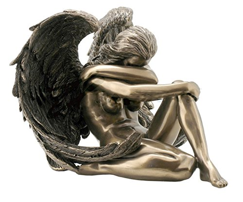 "6.5"" Nude Sexy Female Angel Statue Collectible Erotic Naked Woman Winged Sitting"