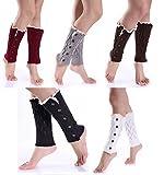 Women Crochet Knitted Button Lace Trim Boot Cuffs Leg Warmer Socks (5 Pack 5 Buttons)