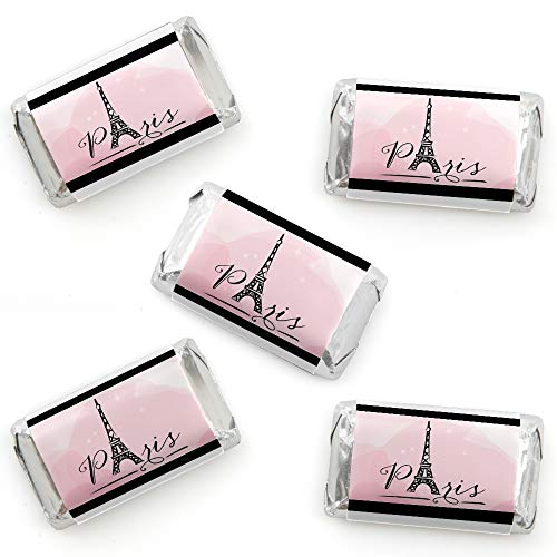 Paris, Ooh La La - Mini Candy Bar Wrapper Stickers - Paris Themed Baby Shower or Birthday Party Small Favors - 40 -