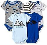 Rosie Pope Kids' Toddler Baby 5-Pack Bodysuits, Adventure, 3-6 Months