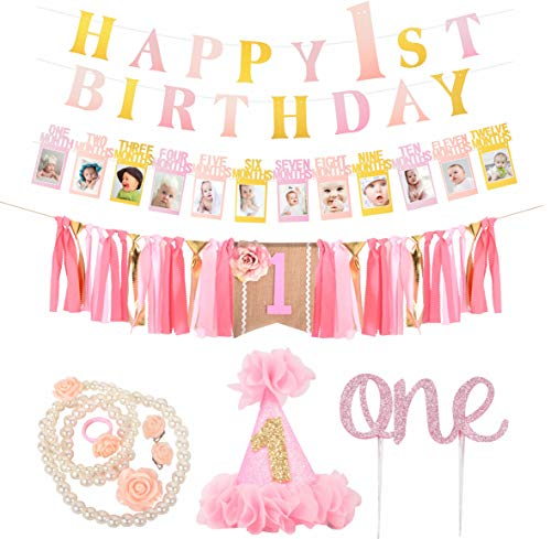 FIRST BIRTHDAY DECORATION SET FOR GIRL- 1st Baby GIRL Birthday Party, PINK Hat Crown,PINK High Chair Banner - | Happy Birthday ONE Burlap Banner | 1st Birthday Baby Photo Banner for Newborn to 12 Months, Monthly Milestone Photograph Bunting Garland| pink girl's Necklace First Birthday Celebration Decoration| Cake Smash Party Supplies -
