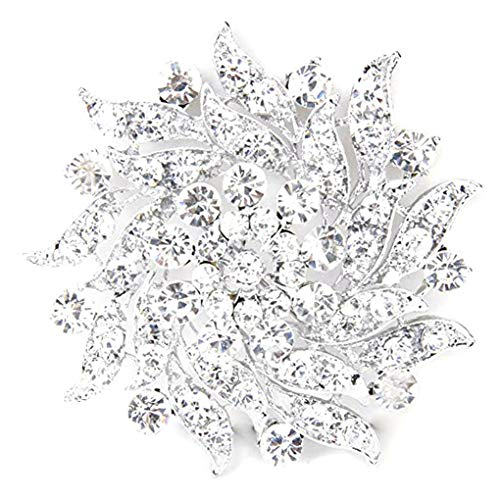 Zerama Women Simulated Crystal Brooch Clear Floral Wreath Brooch Pin Corsage Alloy Bridal Wedding Jewellery