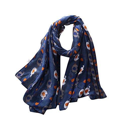 Long Imprimé Wrap Acvip Châle Eléphant Voile Bleu Femme écharpe wq6fgyRH1