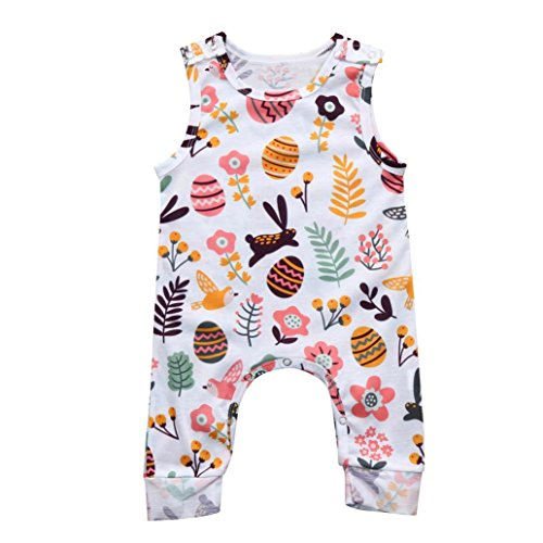 Sunbona Toddler Newborn Baby Boys Girls Easter Eggs Letter Print Sleeveless Romper Jumpsuit Pajamas Outfits Clothes (White, 3M(0~3months))