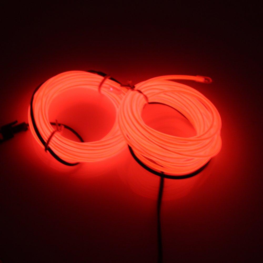 Lerway ® Rot, 5 M Kabel, EL Wire Neon Leuchtet Tron ...