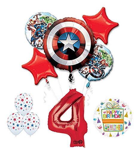 Mayflower Products The Ultimate Avengers Super Hero 4th Birthday Party Supplies and Balloon Decorations -