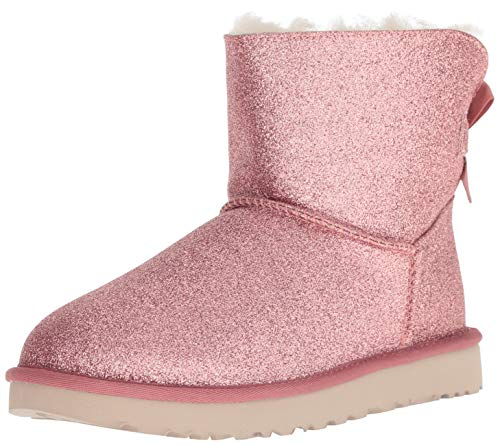 UGG Women's W Mini Bailey Bow Sparkle Fashion Boot, Pink, 8 M US
