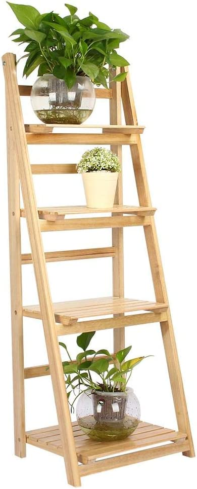 Soporte organizador de madera de 4 capas, macetas plegables, estante de madera maciza para balcón exterior o sala de estar interior, escalera para plantas de jardín, estante de soporte (Madera): Amazon.es: Jardín