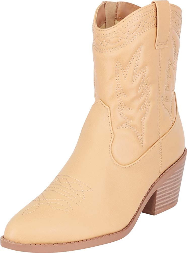 Blonde Pu Cambridge Select Women's Pointed Toe Western Stitched Stacked Heel Cowboy Boot