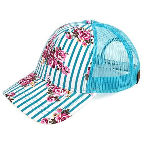 C.C Hatsandscarf Exclusives Flower Pattern Mesh Trucker Baseball Cap (Rose-Teal.)