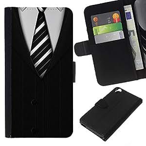 Planetar® Modelo colorido cuero carpeta tirón caso cubierta piel Holster Funda protección Para HTC Desire 820 ( Cravatta White Collar Man Stripes)