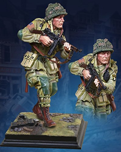 (WWII D-Day Normandy 101st Airborne Paratrooper 1/6 Scale Metal and Resin Commemorative Statue Model Figure with Terrain Base Collectors Showcase Toy Soldiers Painted CS60005)