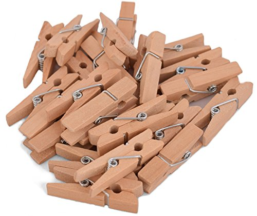 100-Pack of 1 3/8 Inch (35mm) Small Clothespins Wood. Mini Natural Wooden Clothes pins for Home School Arts Crafts Decor DIY Screen, Tiny Clothespins Photo Paper Peg Pin Craft -