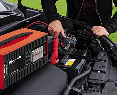 51hiFhLbX6L Einhell 1050821 Batterie-Ladegerät CC-BC 10 E (12 V, für Batterien von 5-200 Ah, Ladeelektronik, Stahlblechgehäuse, inkl…