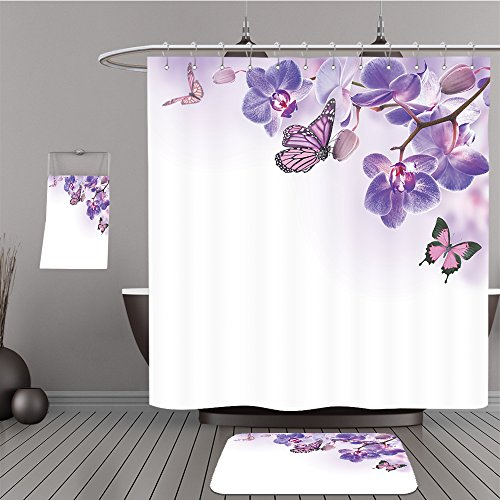 Frontgate Beige Rug (Uhoo Bathroom Suits & Shower Curtains Floor Mats And Bath Towels 177154538 Floral background of tropical orchids and butterfly For Bathroom)