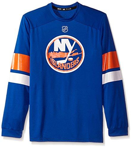 adidas NHL New York Islanders Mens Silver L/s jersey Teesilver L/s jersey Tee, Blue, Large