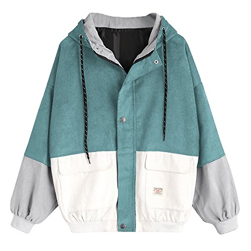 ZAFUL Women's Raglan Sleeve Drop Shoulder Color Block Corduroy Hooded Jacket (Blue Green, - Hooded Vintage Ski Jacket