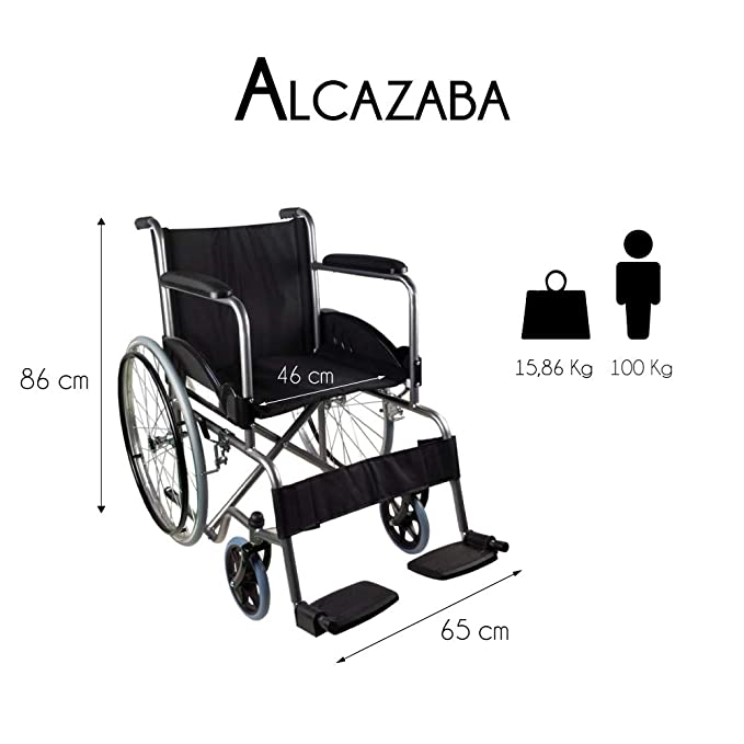 Mobiclinic, modelo Alcazaba, Silla de ruedas para minusválidos, premium, manual, plegable, ortopédica, de aluminio, freno en manetas, reposapiés, ...