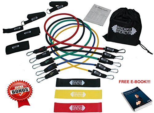 WORKOUT BANDS ( Resistance Bands & Loop Bands ) by RockFit Health. PREMIUM 15 PIECE SET (Handles, Ankle Straps, Door Anchor, Carrying Case, User Guide) FREE E-BOOK & BONUS LOOP BANDS!! GET FIT TODAY! (Made Swiss Meters)
