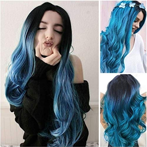 Dumanfs Purple Bule Wavy Long Wig For Women Curly Straight Synthetic Full Hair Cosplay Party Wig Full Hair -