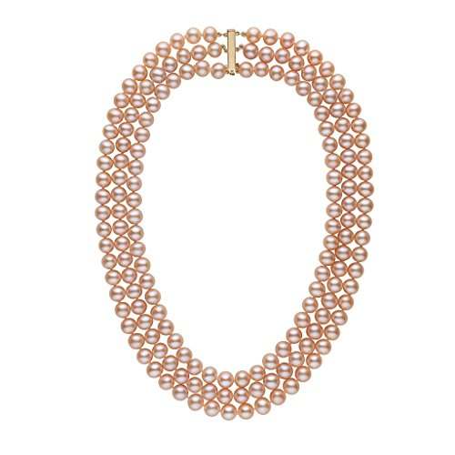 7.5-8.0 mm Triple-Strand AA+ Pink to Peach Freshwater Cultured Pearl Necklace - 14K Yellow Gold