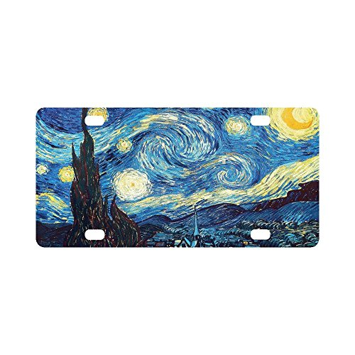 12 X 6 inches Durable License Plate Frame Metal Personalized Car Tag, The Starry Night by Vincent Van Gogh, Landscape Painting (4 Holes)]()
