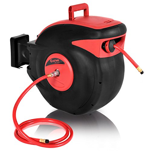 COSTWAY 3/8 x 100' Retractable Auto Rewind Air Hose Reel Tools Compressor 300 PSI Garage For Auto Repair (Reel Air Hose Plastic)