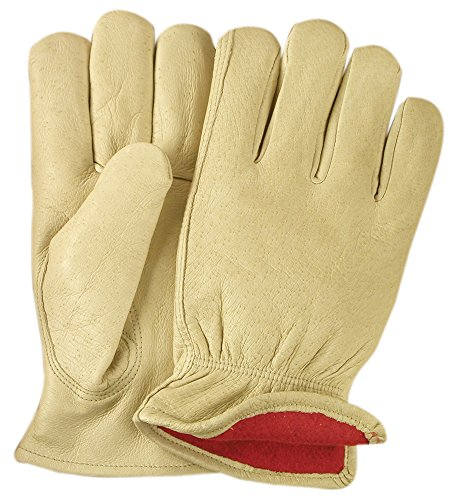 Illinois Glove Company HW2600M Grain Pigskin Fleece Lined Glove, M, Palomino - Lined Pigskin Driver