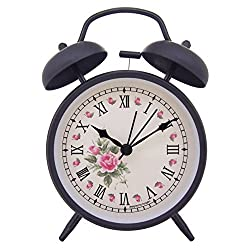 Konigswerk 4 Non-ticking Quartz Analog Retro Vintage Bedside Twin Bell Alarm Clock With Loud Alarm and Nightlight (Elegant Roses)