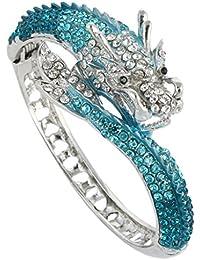 Women's Austrian Crystal Cool Animal Fly Dragon Bangle Bracelet Silver-Tone