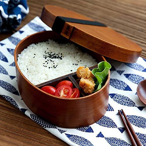Japanese Style Wood Lunch Box Oval Shape Wooden Bento Box Su