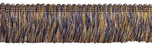 Fringe Cut Brush (DecoPro 5 Yard Value Pack of NAVY BLUE TAUPE Baroque Collection Brush Fringe 1 3/4
