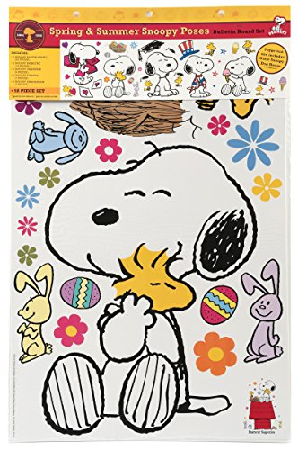 - Eureka Classroom Supplies Snoopy Spring and Summer Seasonal Bulletin Board Set, 58 pcs