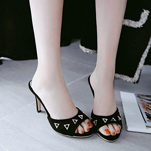 Mee Shoes Women's Chic Slip On High Heel Stiletto Slipper Sandals Black JCsBj