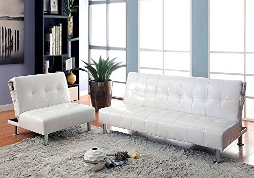 1PerfectChoice Bulle 2pc Adjustable Sofa Bed Futon Chair Sleeper White Leatherette Side Pockets