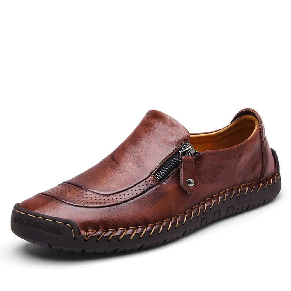 Men's Hand Stitching Zipper Slip On Leather Shoes Casual Loafers